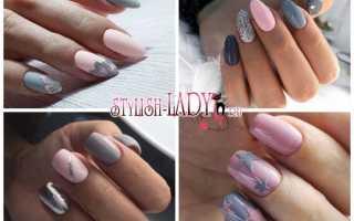 Розово серые ногти