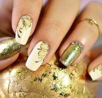 Дизайн ногтей с золотым гель лаком
