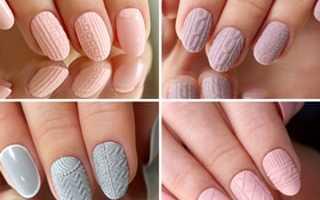 Узор свитер на ногтях