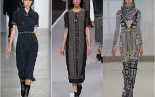 С чем носить длинное трикотажное платье зимой