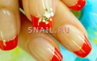 Дизайн ногтей красный френч