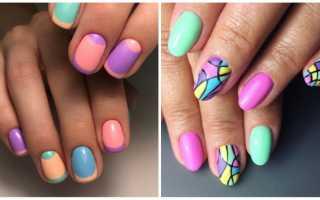 Дизайн разноцветных ногтей