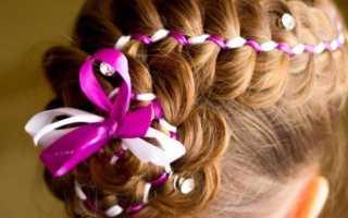 Нарядная причёска для девочки на средние волосы