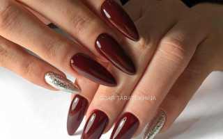 Дизайн ногтей миндаль бордо