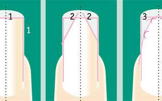 Французский маникюр на миндалевидных ногтях с дизайном