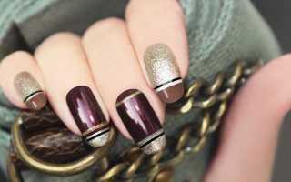 Дизайн ногтей коричневый с золотом фото