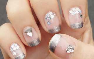 Серебряный френч на ногтях