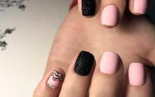 Дизайн ногтей розово черный