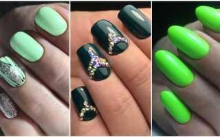 Дизайн ногтей на зеленом фоне
