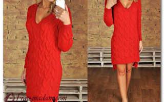 Красное вязаное платье с чем носить