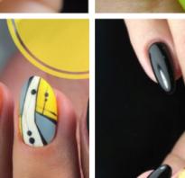 Дизайн ногтей черный с желтым фото