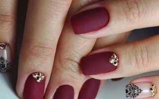 Дизайн ногтей бордовый фото
