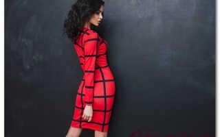 Красное платье в клетку с чем носить