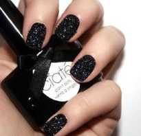 Черный маникюр на коротких ногтях