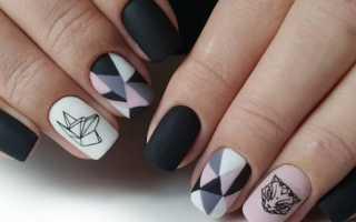 Геометрия кошка на ногтях