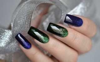 Дизайн ногтей градиент с блестками