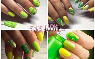 Дизайн ногтей желтый с зеленым