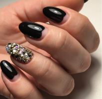 Маникюр на короткие ногти черный цвет