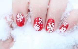 Рисунки снежинок на ногтях