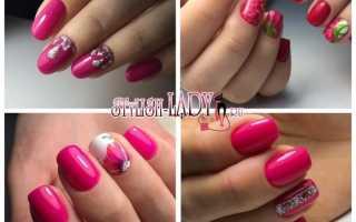 Дизайн ногтей в малиновом цвете