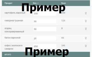 Расчет калорийности готового блюда калькулятор онлайн