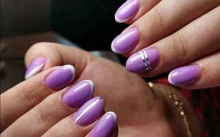 Сиреневый френч на ногтях