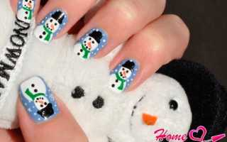 Дизайн ногтей снеговик