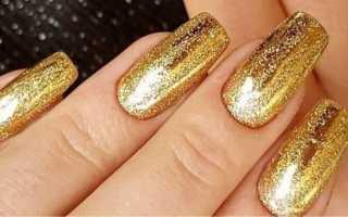 Дизайн ногтей синий с золотом фото