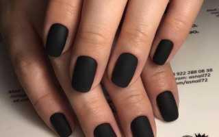 Дизайн ногтей с черным матовым цветом