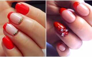 Дизайн ногтей красный френч с золотом