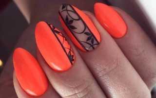 Дизайн ногтей оранжевого цвета